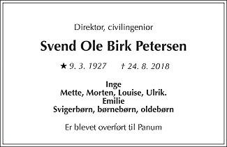 Svend Ole Birk  Petersen Death notice
