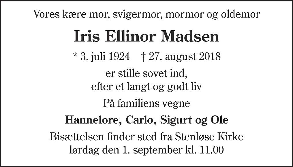 Iris Ellinor  Madsen Death notice