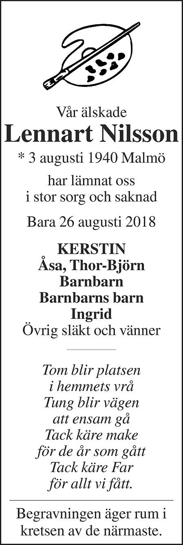 Lennart Nilsson Death notice