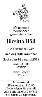 Birgitta Häll Death notice