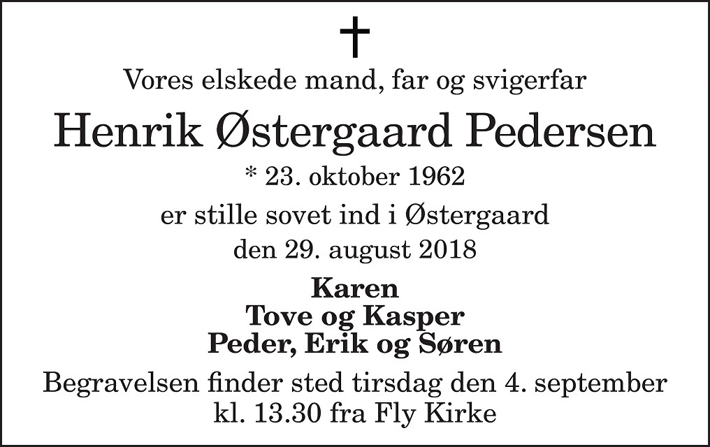 Henrik Østergaard  Pedersen Death notice