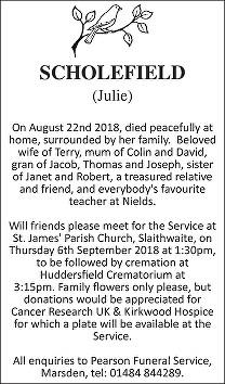 Julie Scholefield Death notice