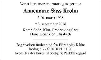 Anne Marie Sass  Krohn Death notice