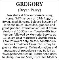 Bryan Parry Gregory Death notice