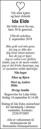 Ida Eide Dødsannonse