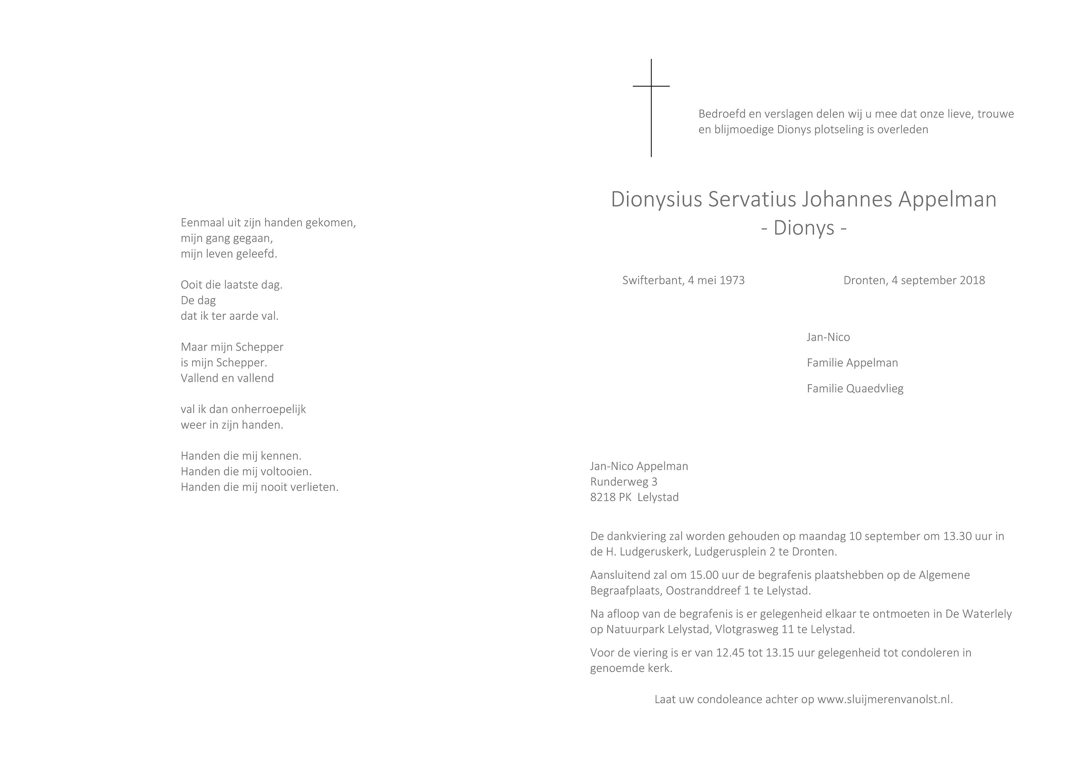Dionys Appelman Death notice