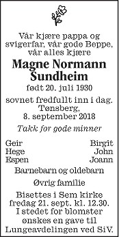 Magne Normann Sundheim Dødsannonse
