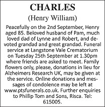 Henry William Charles Death notice
