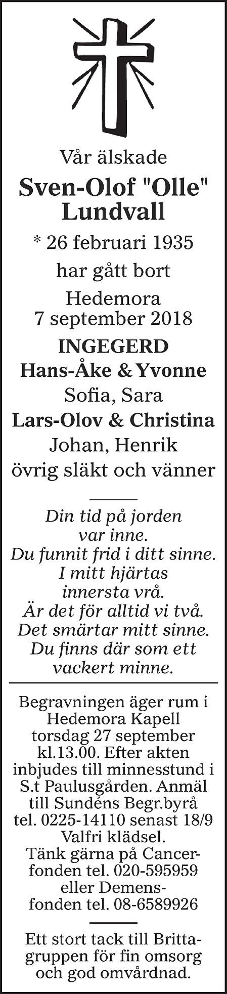 Sven-Olof Lundvall Death notice