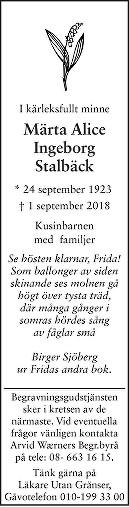 Märta Alice Ingeborg Stalbäck Death notice
