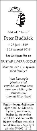 Peter Rudbäck Death notice