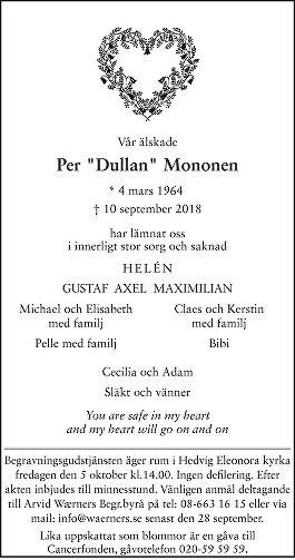 Per Mononen Death notice