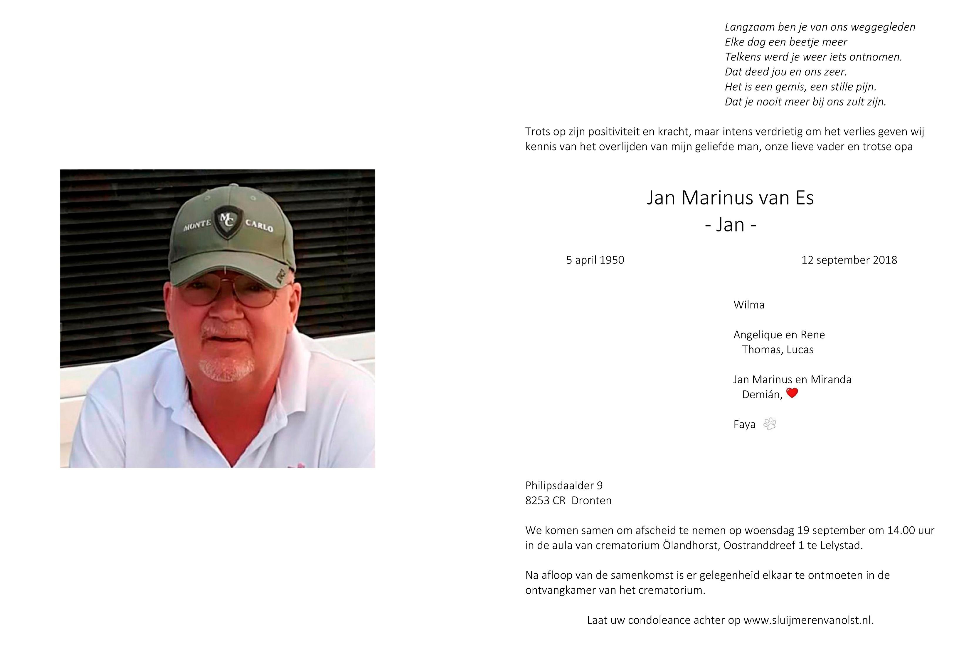 Jan van Es Death notice