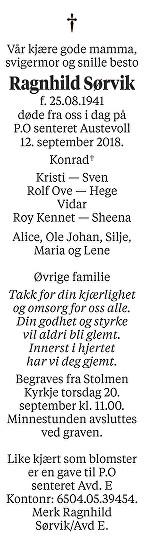 Ragnhild Sørvik Dødsannonse