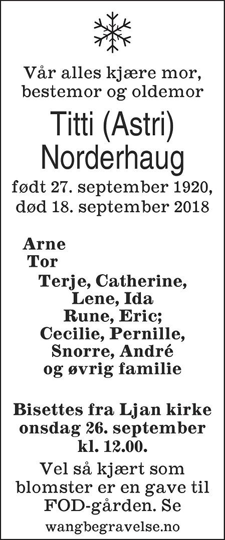 Astri Norderhaug Dødsannonse