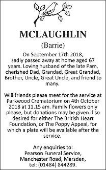 Barrie McLaughlin Death notice