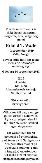 Erland Walle Death notice