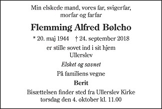 Flemming Alfred  Bølcho Death notice