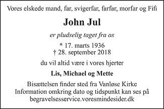 John  Jul Death notice