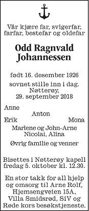 Odd Ragnvald Johannessen Dødsannonse