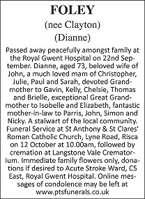 Dianne Foley Death notice