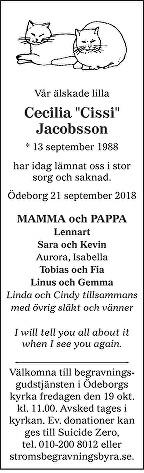 Cecilia Jacobsson Death notice
