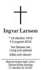Ingvar  Larsson Death notice