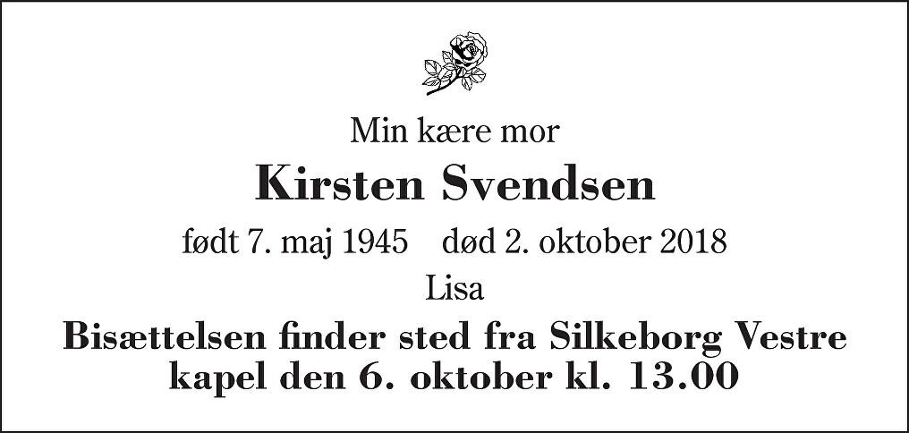 Kirsten  Svendsen Death notice