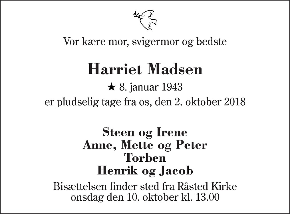 Harriet  Madsen Death notice