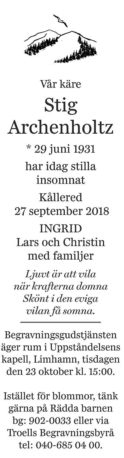 Stig Archenholtz Death notice