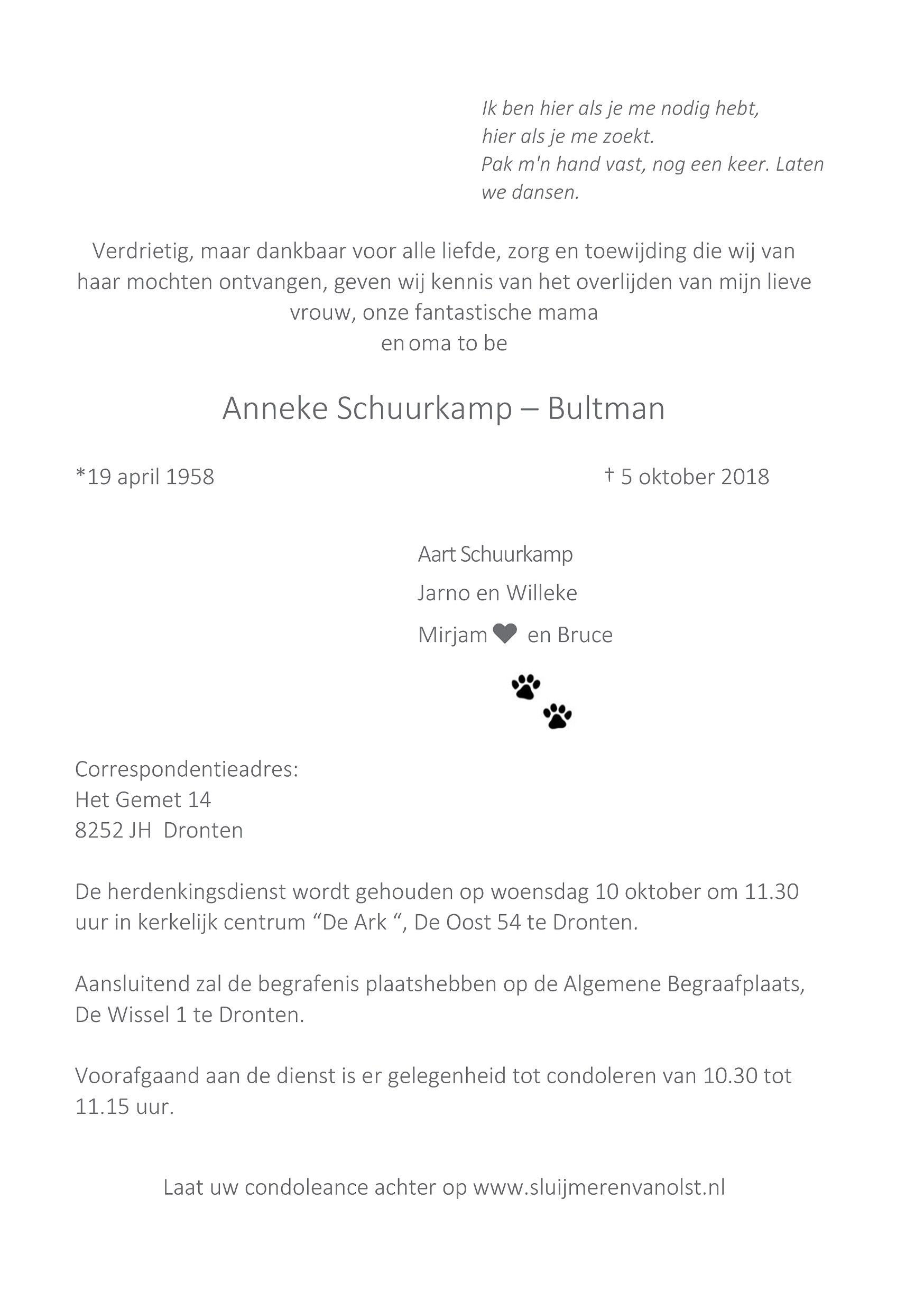 Anneke  Schuurkamp-Bultman Death notice
