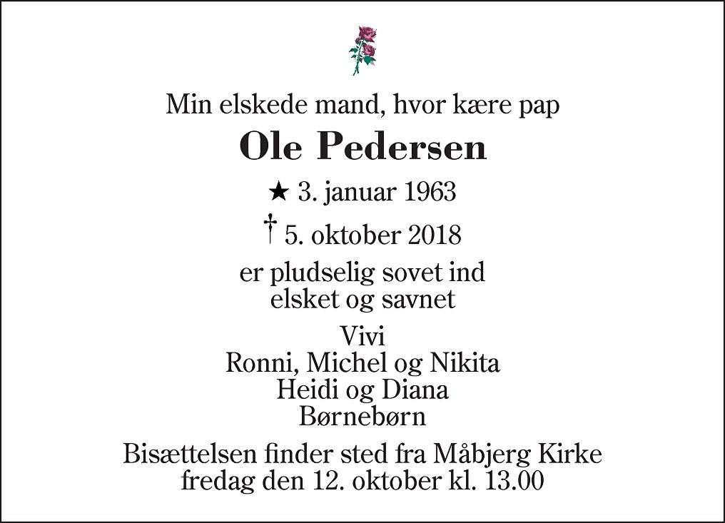 Ole  Pedersen Death notice