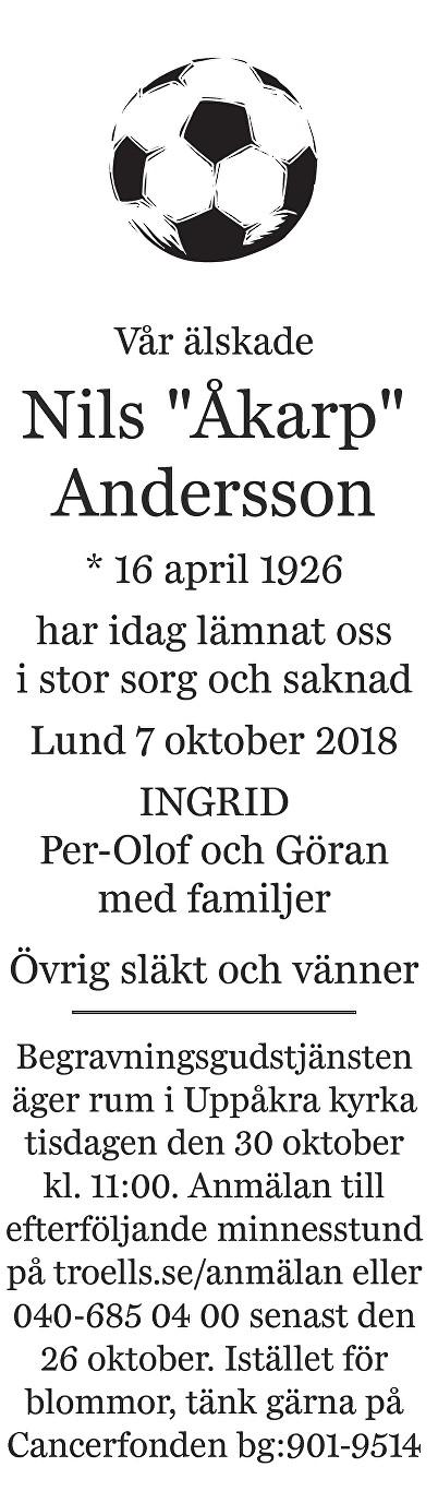 Nils Andersson Death notice