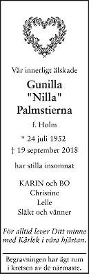 Gunilla Palmstierna Death notice