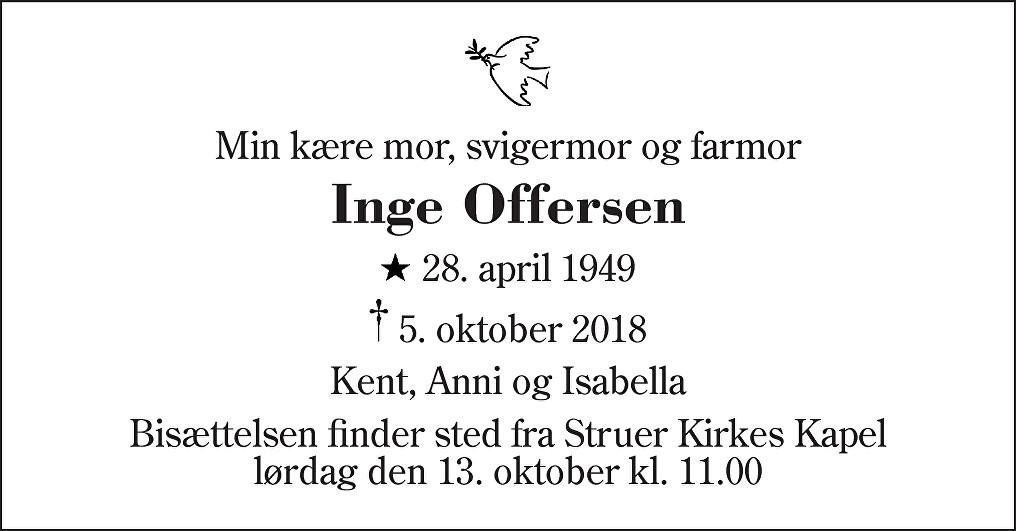 Inge  Offersen Death notice