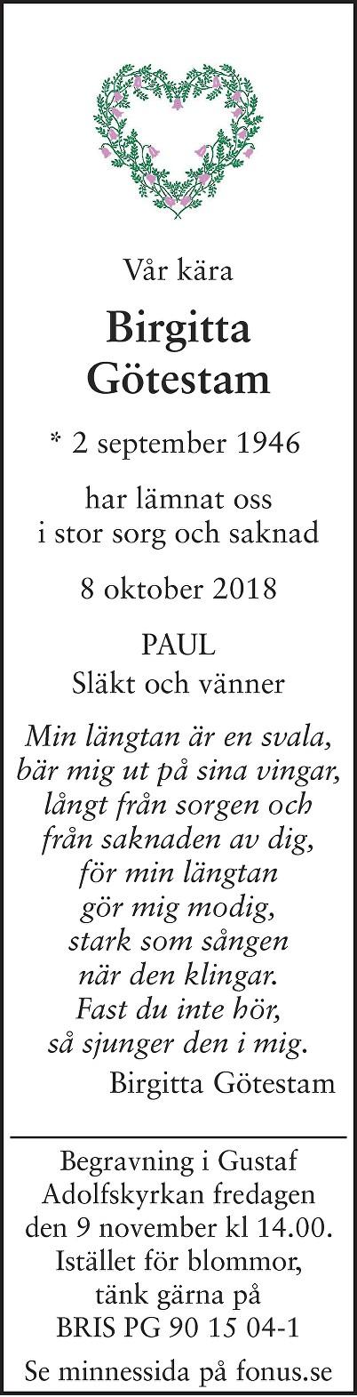 Birgitta Götestam Death notice