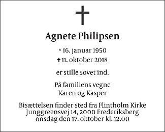 Agnete  Philipsen Death notice