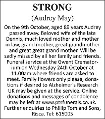Audrey May Strong Death notice