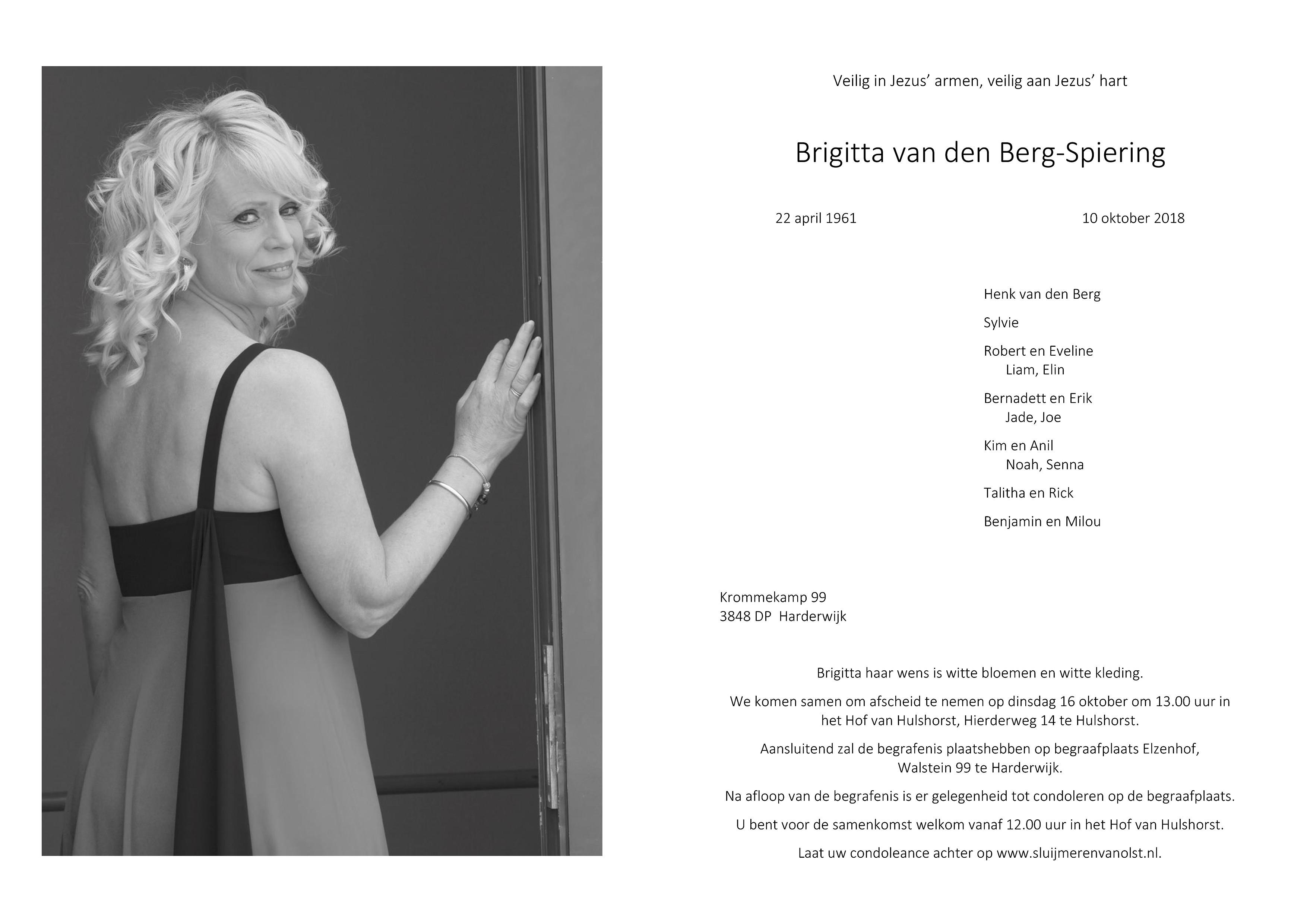 Brigitta van den Berg-Spiering Death notice