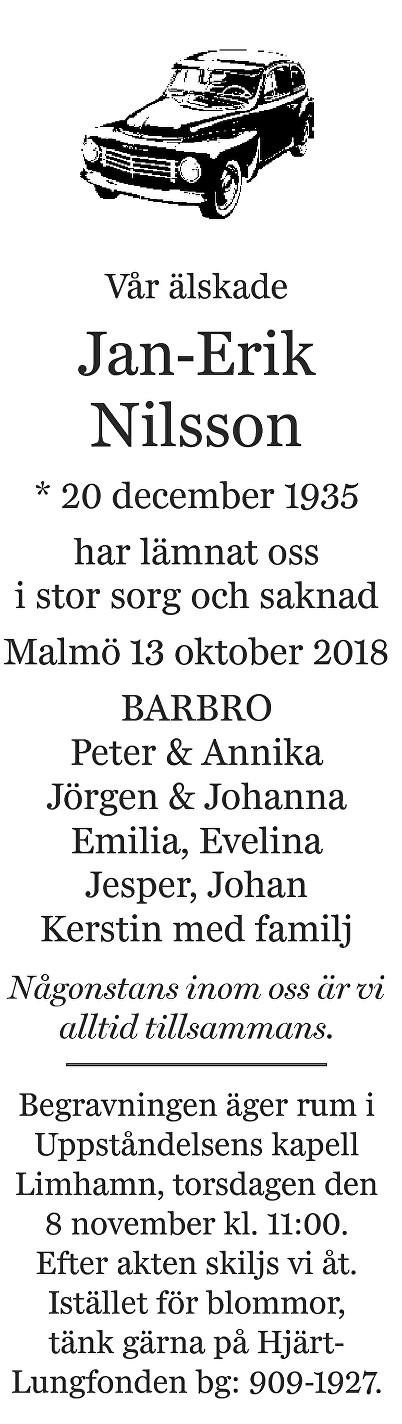 Jan-Erik Nilsson Death notice