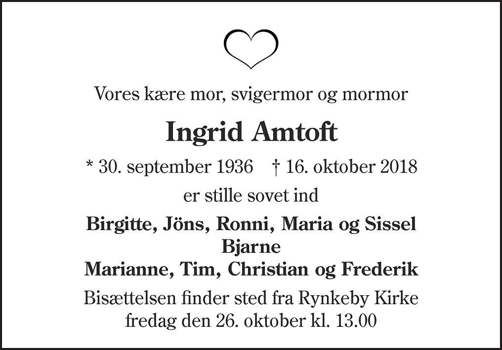 Ingrid  Amtoft Death notice