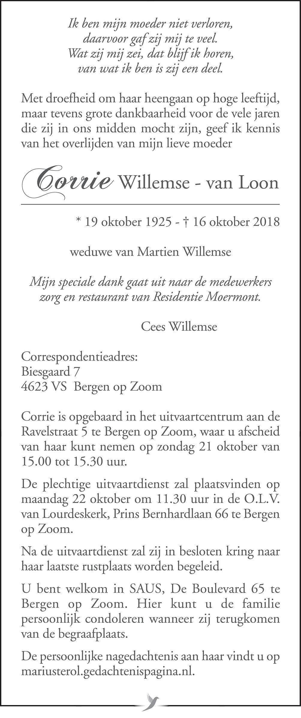 Corrie Willemse - van Loon Death notice