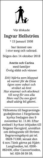 Ingvar Hellström Death notice