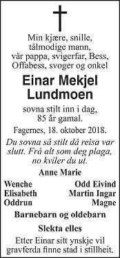Einar Mikjel Lundmoen Dødsannonse