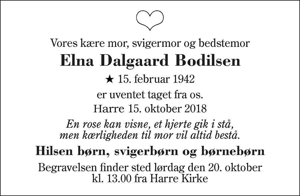 Elna Dalgaard  Bodilsen Death notice