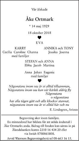 Åke Ortmark Death notice