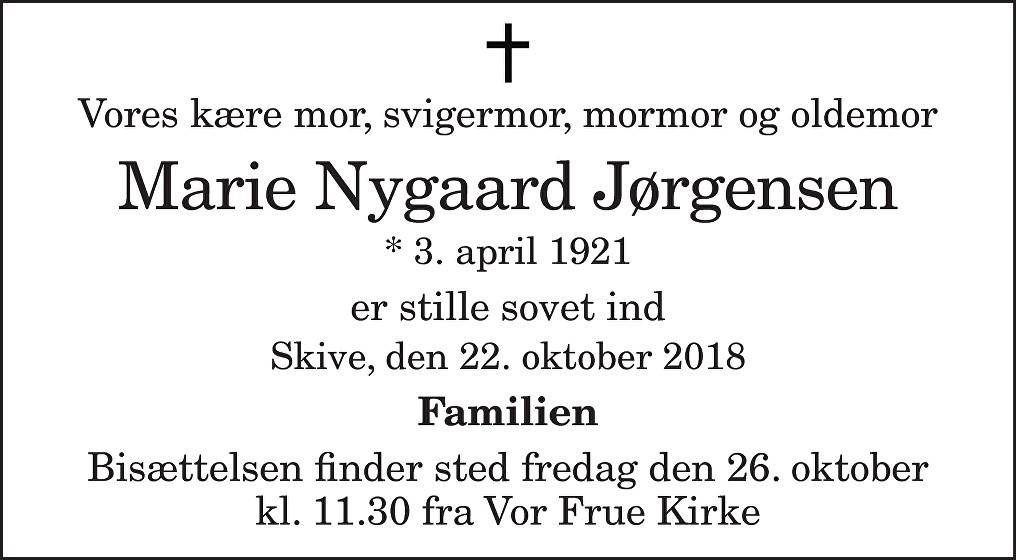 Marie Nygaard  Jørgensen Death notice