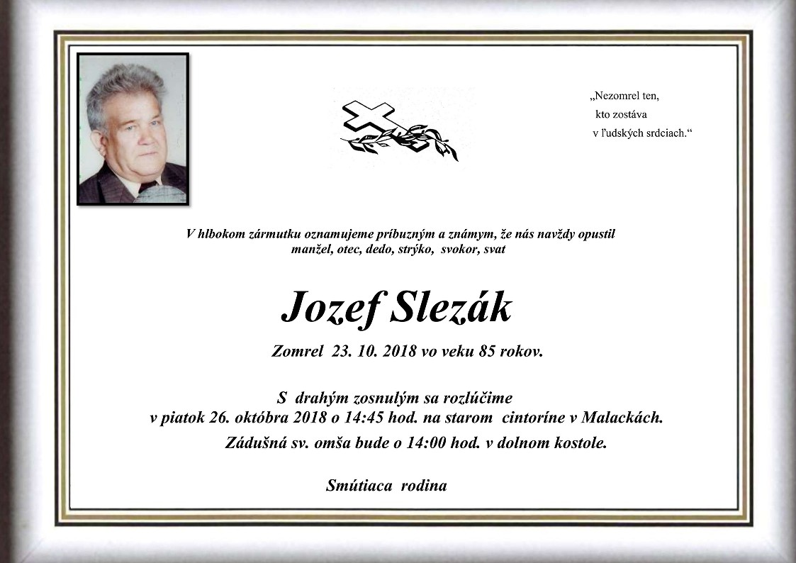 Jozef Slezák Parte