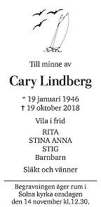 Cary Lindberg Death notice