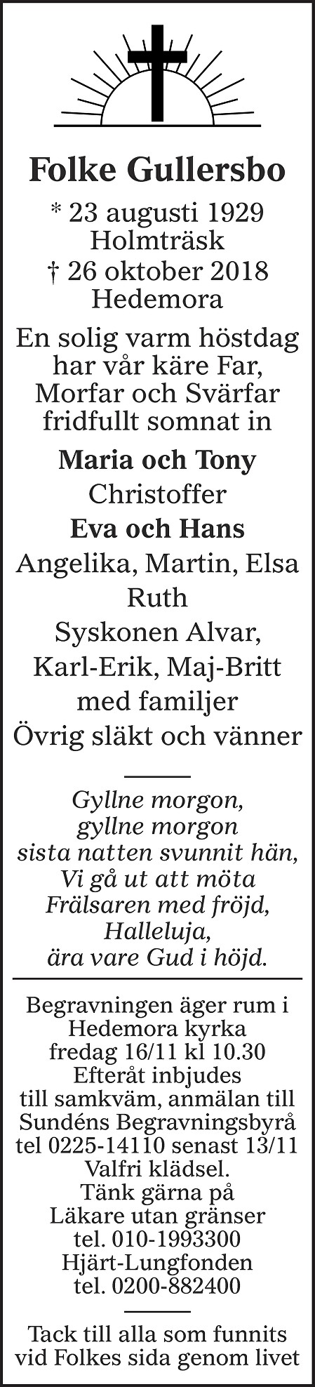 Folke Gullersbo Death notice